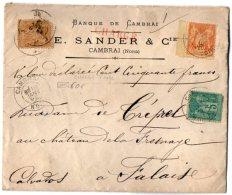 TB 1006 - LSC - Lettre Chargée Banque E. SANDER & Cie  MP CAMBRAI  Pour FALAISE - Marcophilie (Lettres)