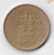 Denmark, 1 Krone, 1956 C ♥ S    Aluminium-Bronze, 2 Scans  KM 837.2 - Dänemark