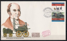 """Tuvalu FDC 1er Jour De 1984 : Timothy Hackworth (1786-1850) Et La Locomotive """"Sans Pareil"""" De 1829 - Tuvalu"""