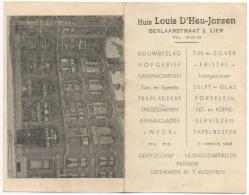 Publicité. Klientenkaart/Carte Fidelité. Lier. Huis Louis D'Heu-Jansen. Huishoudartikelen. - Advertising