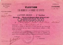 CARTON INVITATION VOTE - AUXERRE 89 YONNE - ELECTION DEPUTE - POLITIQUE - HOTEL DE VILLE SALLE DU MUSEE - 1910 - Collections