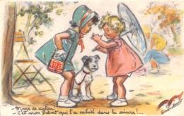 ¤¤  -  Illustrateur   -  Germaine BOURET  -  Petites Filles , Chien , Ombrelle   -  ¤¤ - Bouret, Germaine