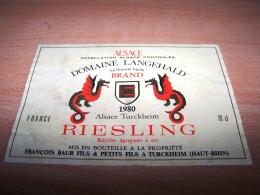 étiquette Vin Wine Label Fantastic Fantasy Dragon Drache Creature Ancienne Riesling 1980 Francois Baure Turckheim - Dragons