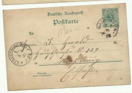 1890: Entier Postal Allemand Posté De Masmunster En Alsace Pour Strasbourg - Marcophilie (Lettres)