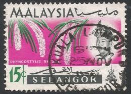 Selangor(Malaysia). 1965 Orchids. 15c Used. SG 141 - Malaysia (1964-...)