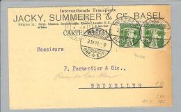 Schweiz Tellknabe 1911 Perfin Beleg D092 Jacky,Summerer & Cie Basel - Suisse