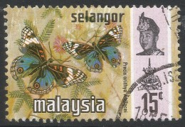Selangor(Malaysia). 1971 Butterflies. 15c Used. SG 151 - Malaysia (1964-...)