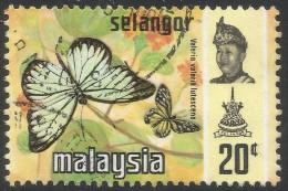 Selangor(Malaysia). 1971 Butterflies. 20c Used. SG 152 - Malaysia (1964-...)