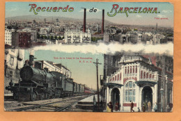 Barcelona Railroad Engine 1910 Postcard - Barcelona