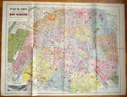 CARTE PLAN DE PARIS Ancien AU BON MARCHE Sans Livret - Other