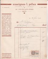 FACTURE  ENSEIGNES L. PELAN.-PARIS - ANNEE 1931 - France