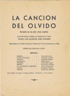 17906. Programa Zazuela 1 Acto, Maestro SERRANO. La Cancion Del Olvido 1958 - Programmes
