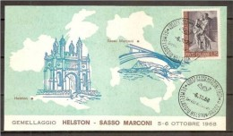 1968 Italia Italy Repubblica Gemellaggio HELSTON  SASSO MARCONI Cartolina N°2300 Town Twinning - Fisica