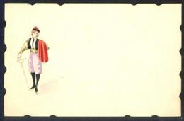 Tarjeta De Visita Con Acuarela Miniatura Original. Meds.: 105 X 67 Mms. Dorso En Blanco. - Tarjetas De Visita
