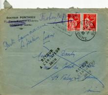 DOULLENS SOMME Daguin 12/5/40 2 TIMBRES Paix 50c Rouge N°283 RETOUR A L´ENVOYEUR 3880 DE St Valéry Sur Somme - France