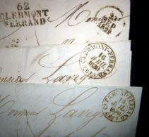63 CLERMONT FERRAND  CACHETS POSTAUX SUR LETTRES  1830 TREIZE LETTRES AVEC CACHETS ET MARQUES - Poststempel (Briefe)