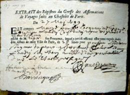 PRISON 18° SIECLE  EXTRAIT DES REGISTRES DU GREFFE DES AFFIRMATIONS DE VOYAGES FAITS AU CHATELET DE PARIS  1799 - Documents Historiques