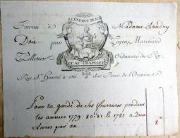 FACTURE 18° A L'ENFANT JESUS  ET AU CHAPELET RUE SAINT HONORE PARIS  MARCHAND PELLETIER  1783 FOURRURES PEAUX - France
