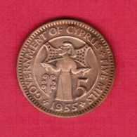 CYPRUS  5 MILS 1955 (KM # 34) - Cyprus