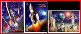 BHUTAN = MILLENNIUM EXPO 2000 X3 S/S APOLLO + SPACE SHUTTLES MNH ** FREE POSTAGE Is POSSIBLE - Bhutan