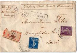 TB 1012 -  LAC - Lettre Chargée MP PARIS Pour BOURGET DU LAC Via LYON - Marcophilie (Lettres)