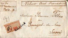 TB 1013 -  LSC - Lettre Chargée MP PARIS Pour BOURGET DU LAC - Marcophilie (Lettres)