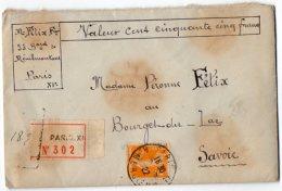 TB 1014 -  LAC - Lettre Chargée MP PARIS Pour BOURGET DU LAC - Marcophilie (Lettres)