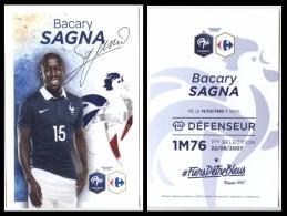 CP - FOOTBALL BACARY SAGNA N°15 Equipe De France FFF 2016 - Exclusivité Carrefour Partenaire Officiel - Football