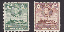 Malta, Scott #192, 192A, Mint Hinged, Fort St. Angelo, Issued 1938 - Malta