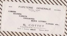 158 BUVARD PAPETERIE GENERALE R COTTET ORAN   22 X 10.5 CM - Stationeries (flat Articles)
