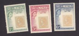Malta, Scott #281-283, Mint Hinged, Stamp Of 1860, Issued 1960 - Malta