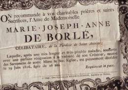 LIEGE Grand Avis Mortuaire Marie De BORLE 1790-1816 Paroisse Saint-Antoine Format A2 - Obituary Notices