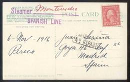 TP Tampón *Steamer Spanish Line - Montevideo* Y *Madrid... 4º Reparto* Fechada 1916. - Estados Unidos
