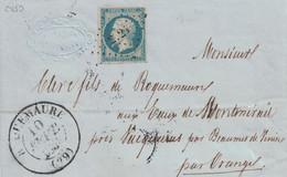 GARD - ROQUEMAURE - T13 DU 10-9-1854 - EMPIRE N°14 OBLITERATION PC2725 - MANQUE UN BOUT DE LA LETTRE - INDICE 15. - 1849-1876: Classic Period