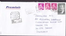 Spain PREMIAIR Registered Certificado Label AEROPUERTO MALAGA 1998 Cover Letra Denmark Juan Carlos Sellos - 1991-00 Briefe U. Dokumente