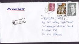 Spain PREMIAIR Registered Certificado Label AEROPUERTO MALAGA 1998 Cover Letra Denmark Juan Carlos & Lynx Cat Katze - 1991-00 Briefe U. Dokumente