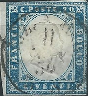 ANTICHI STATI 1861 SARDEGNA FG VITTORIO M 2° 20C USATO INDACO - Sardaigne