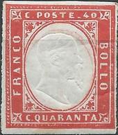 ITALY ITALIA ITALIEN ITALIE Antichi Stati 1861 SARDEGNA 40C CARMINIO VIVO PARSIALMENTE GOMMATO - Sardaigne