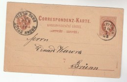 1883  BRNO 2k POSTAL STATIONERY Card AUSTRIA Stamps Cover Czechoslovakia - 1850-1918 Empire