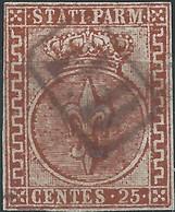 ITALY ITALIA ITALIEN ITALIE Antichi Stati 1853 DUCATO DI PARMA 25C BRUNO ROSSO ANNULLATO MOLTO BELLO - Parma