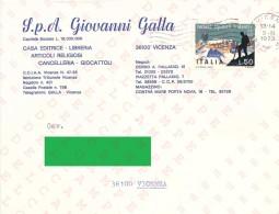 BUSTA CON L. 50 SOCIETA´ ALPINISTI TRIDENTINI DA VICENZA PER CITTA´ 03-02-1973 - SASSONE 1180 - 1971-80: Storia Postale