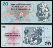 Czechoslovakia 20 KORUN 1970 P 92 UNC - Czechoslovakia