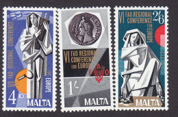 Malta, Scott #394-396, Mint Hinged, 6th Regional Congress Of The FAO, Issued 1968 - Malta