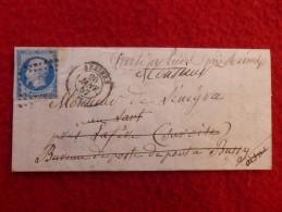 LETTRE CACHET BEZIERS FACTEUR MANUSCRIT PARTI BUREAU DE POSTE DE PONT A BUSSY - 1849-1876: Classic Period