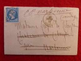 LETTRE MANUSCRIT PP NARBONNE CACHET CARCASSONNE GC 732 ARMOIRIES VERSO - Marcophilie (Lettres)
