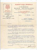 Lettre Commerciale , 1934 , Robinetterie , établissements Mill Supplies , Paris  , Frais Fr : 1.55€ - 1800 – 1899