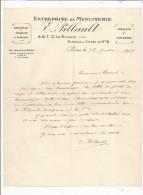Lettre Commerciale , 1939 , Entreprise De Menuiserie E. PILLAULT , Paris X E  , Frais Fr : 1.55€ - 1800 – 1899