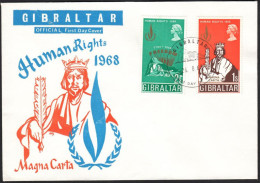 "Gibraltar 1968, FDC Cover ""Human Rights 1968"" W./special Postmark ""Gibraltar"", Ref.bbzg - Gibraltar"