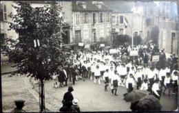 03 LA PALISSE CARTE PHOTO LA FETE A LA PALISSE  EN 1930 ET LE DEFILE DES COMMUNES LE MAYET LAPRUGNE ETC.. - Lapalisse