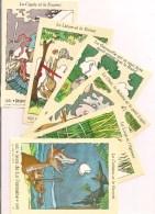 Pochette De 6 Cartes : Fables De Jean De La Fontaine - Affranchies - La Poste - 1995 - Illustrations R & C.Sabatier - - Contes, Fables & Légendes